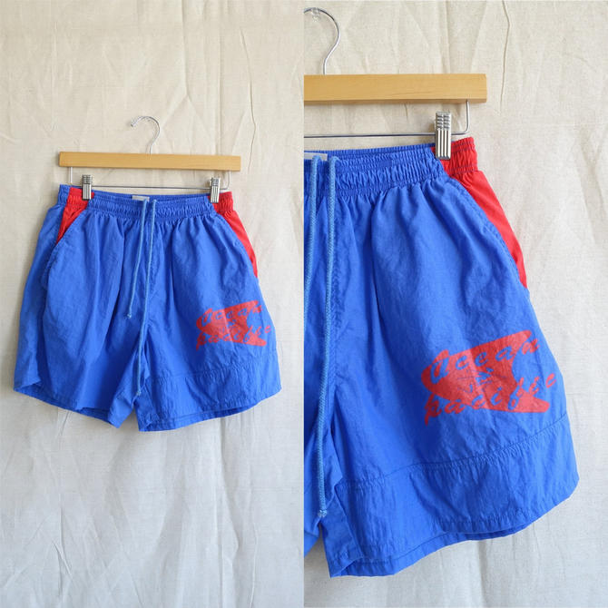 Vintage 80s OP Swim Trunks/ 1980s Blue Red Ocean Pacific Board Shorts/ Size Medium by bottleofbread
