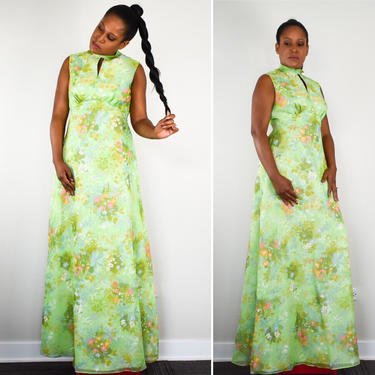 Vintage 70s Maxi Dress in Romantic Green Floral Print with Empire Waist by LavenderJosephine