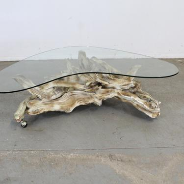 Vintage Mid Century Modern Amorphous/Biomorphic  Glass Driftwood Coffee Table by AnnexMarketplace