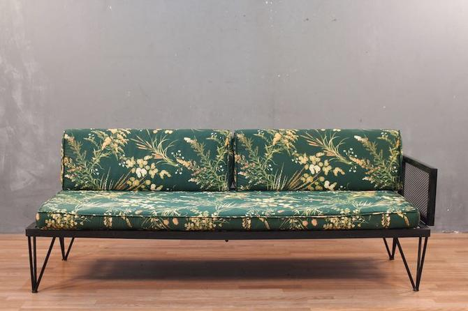 Atomic Emerald Floral Right Daybed Sofa
