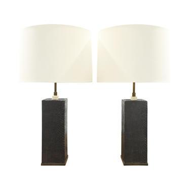 Karl Springer Pair of Table Lamps In Bronze With Black Cobra 1970s