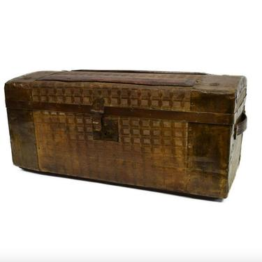 Small Antique American Victorian Travel Trunk Train Case  / Embossed Tin Luggage Carry-on Chest From Turn of Late 19th / Early 20th Century by LynxHollowAntiques
