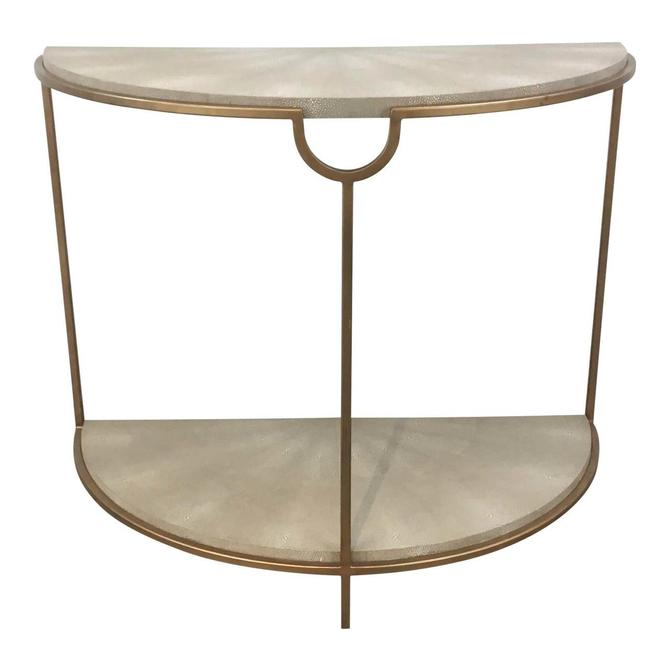 Regina Andrew Modern Gray Faux Shagreen Ad Gold Finished Vogue Console Table