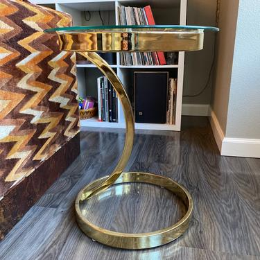 Vintage Milo Baughman Style Glass and Gold Metal End Table by DesertCactusVintage