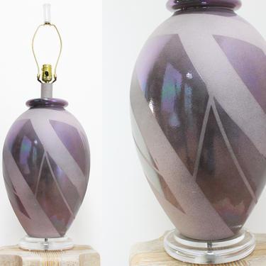 Vintage Iridescent Ceramic Lucite Table Lamp Postmodern 80s Hollywood Regency California Look by 330Modern