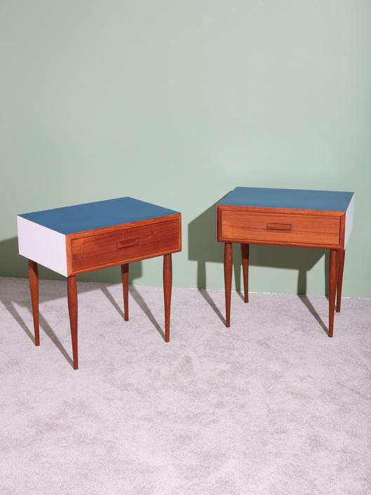 Pair of Laminate and Wood Nightstands