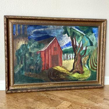 Early Modernist WPA Era Farm Scene Painting Red Barn & Fields, Mystery Artist by templeofvintage