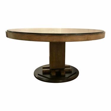 Henredon Modern Oak Finished Round Dining Table