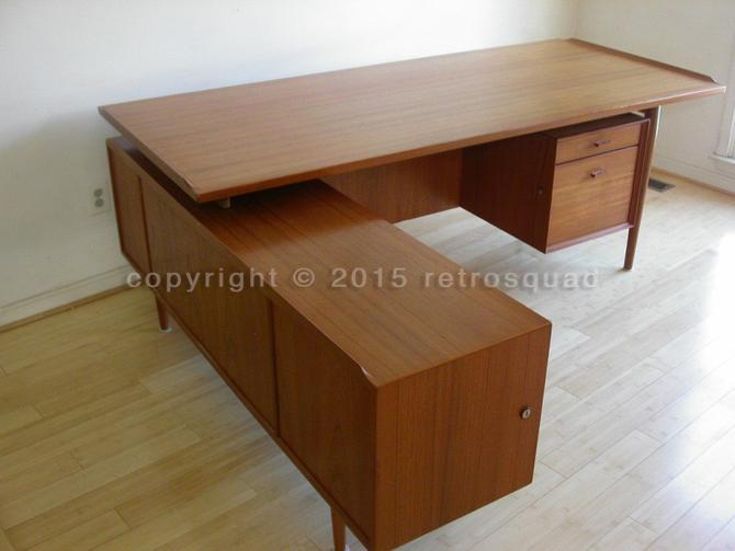 Teak Executive Desk and credenza by Arne Vodder for Sibast Mobelfabrik, Danish Modern, Eames MCM Mid Century Knoll Herman MillerRosewood by RetroSquad