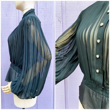 Vtg 60s Black Accordion Pleat Dramatic Blouse / Vintage 1960s Fabulous Avant Garde Sheer Top / small by AmericanDrifter