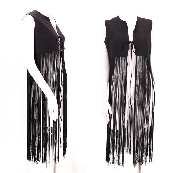 60s Woodstock black fringe vest M / vintage swinging 1960s mod long fringe festival hippy top by ritualvintage