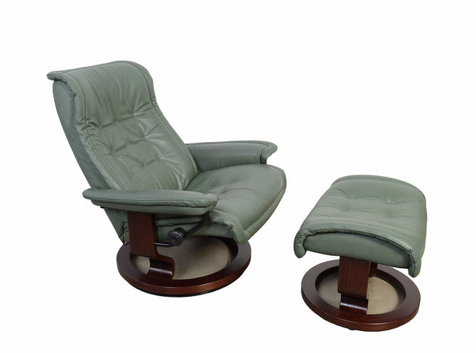 Ekornes Stressless Reclining Chair & Ottoman Sage Green Leather Norway Mid Century Modern by HearthsideHome
