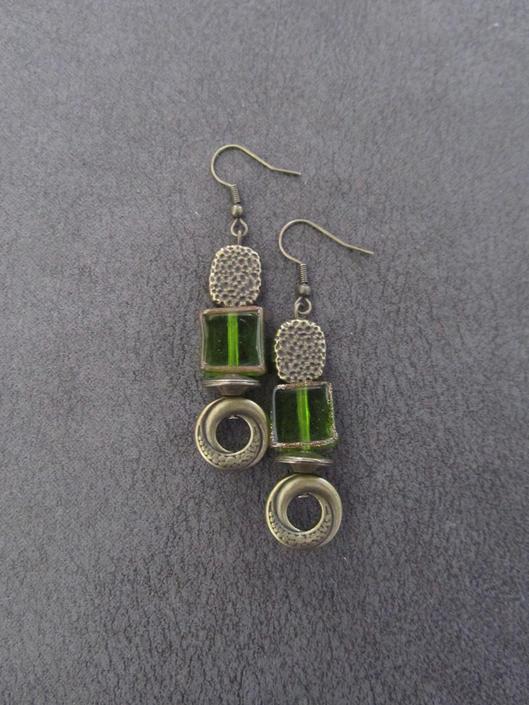 Green stained glass earrings, etcheded brass, Art Deco earrings, unique earrings, boho bohemian earrings, rustic earrings, hammered brass by Afrocasian