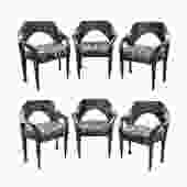 Paul Evans Set of 6 Rare and Important Dining Chairs 1969 (signed)