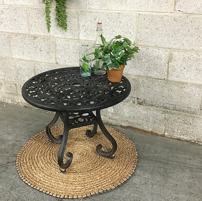 LOCAL PICKUP ONLY Vintage Patio Table Retro 1980s Round Black Cast Iron Bistro End Table with Fleur-de-lis Design + Patio + Outdoor Dining by RetrospectVintage215