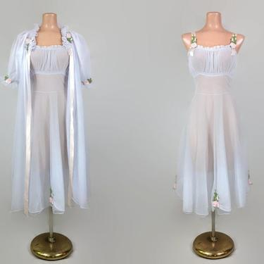 VINTAGE 50s Blue Sheer Chiffon Sweetheart Peignoir Set Lantern Sleeves | 1950s Rose Embroidered Nightgown & Robe | Wedding Bridal Lingerie by IntrigueYouForever
