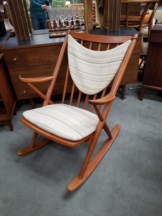 Danish Modern teak rocking chair by Frank Reenskaug for Bramin Mobler