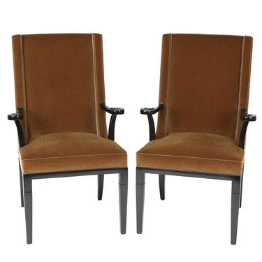 Tommi Parzinger Elegant Pair of Arm Chairs with Mohair Upholstery 1950s - ON HOLD