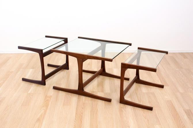 Mid Century Danish Modern Teak and Glass Nest of Tables by SputnikFurnitureLLC