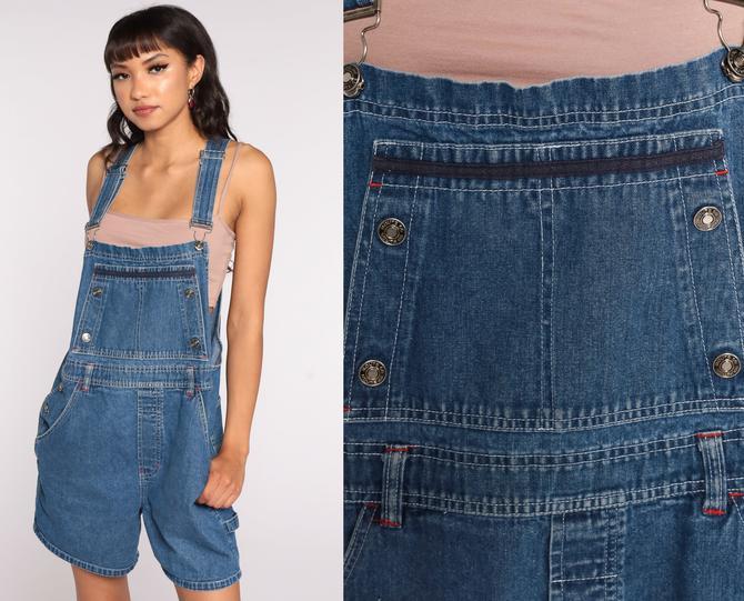 90s Denim Overalls Route 66 Jeans Shorts Bib Shortalls Women Grunge 1990s Blue Shorts Denim Vintage Medium by ShopExile