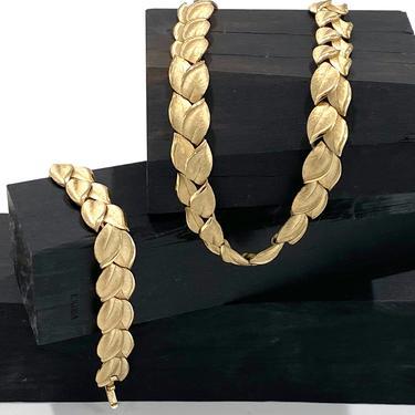 Vintage Trifari Gold Tone Leaf Bracelet and Necklace Set Demi Parure by DressingVintage