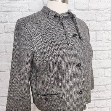 Midcentury Grey Wool Jacket // 50s 60s Button-Up with Necktie by GemVintageMN