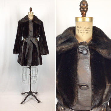 Vintage 70s coat | Vintage chocolate brown leather and faux fur coat | 1970s Lilli Ann belted jacket by BeeandMason