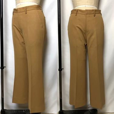 "Vintage 1960s Mens Mod Tan Slim Pants, 60s Mens Vintage, Hippie Chic Mod, Mens 33"" Waist by MobyDickVintage"