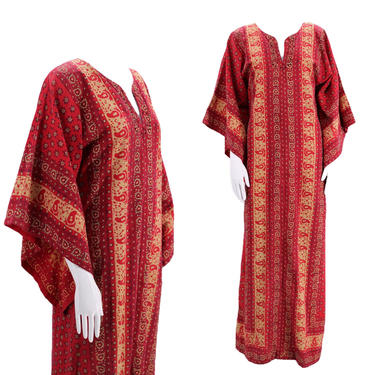 1970s India print red Kaftan Dress M  / vintage 1970s rhinestone witch sleeve boho dress medium caftan by ritualvintage