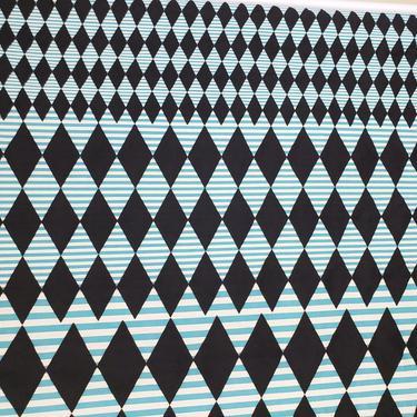 Vintage 1950's Novelty Print Fabric / 60s Harlequin Diamond Stripe Fabric by SilhouettetsyVintage