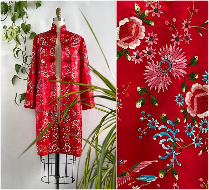 PLUM BLOSSOMS 70s Vintage Red Silk Satin Embroidered Asian Coat | 1970s Floral Bird Embroidery Chinese Jacket | 60s Dead Stock | Size Small by lovestreetsf