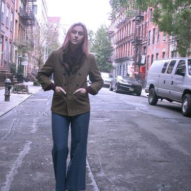 Classy! Double Breated Tweed Jacket With Fur | Womens Wool Blazer | Small or Medium | Winter Jacket | Tan Jacket | Irish Tweed | by HamletsVintage
