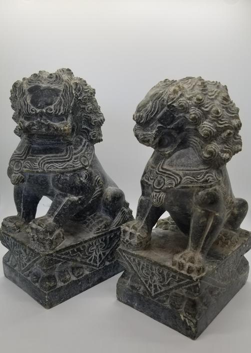 Pr of Vintage Hardstone Foo Dogs