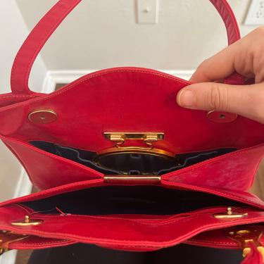 Vintage Lou Taylor made in Italy red leather shoulder bag handbag purse with gold tone detailed and retractable mirror by GRACEandCATS