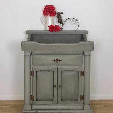 Vintage Dry Sink in Smoky Pearl Finish, Farmhouse Painted Furniture, Grey Refinished Sideboard with Storage by CaptivaHomeDecor