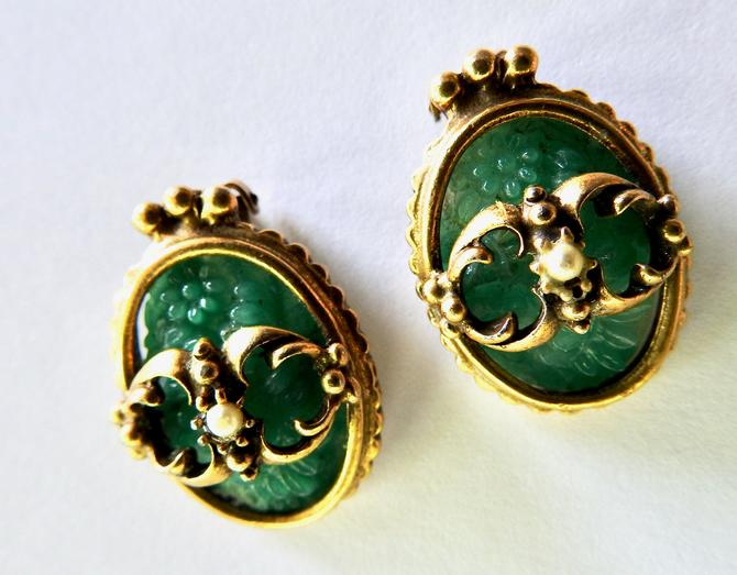 Green Poured Glass Earrings by LegendaryBeast