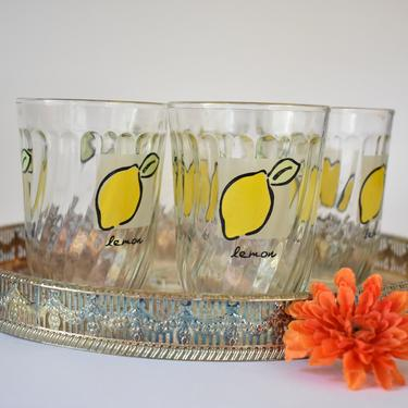 Firna Lemonade Glass Set of 4 | Indonesia Tumblers | 70s 80s Bar Cart Glassware | Fruit Citrus Theme | Fun Happy Summer Vintage Juice Cups by LostandFoundHandwrks