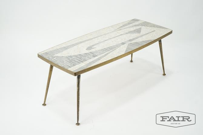 Mosaic Tile Top Coffee Table with Brass Legs