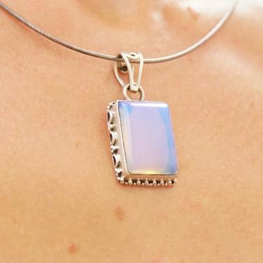"""Vintage Sterling Silver Opalite Pendant, Iridescent Glass, Ornate Rectangle Setting, Silver Cut Out Necklace Bail, 1 1/2"""" L x 3/4"""" W by shopGoodsVintage"""