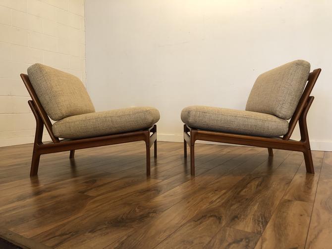 Komfort Danish Teak Slipper Chairs Pair
