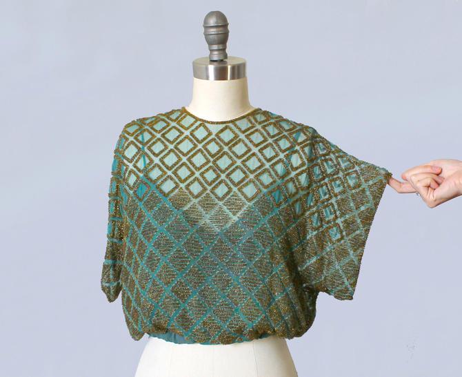 420037dbdb1 RARE 1930s Blouse / 30s Art Deco Geometric Beaded Top / Blue Green ...
