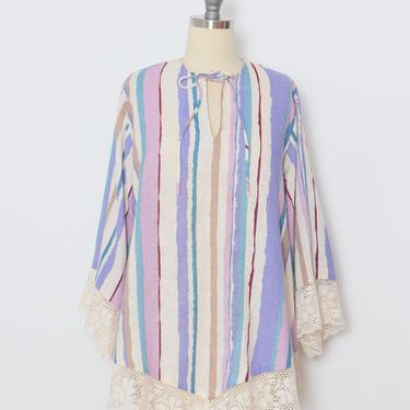 1970s Tunic Top Striped Lace Blouse M by dejavintageboutique