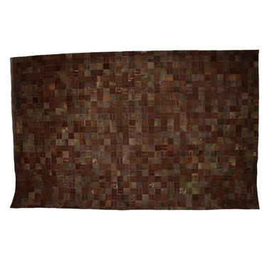 """Mid Century Modern Brutalist Patchwork Cowhide Leather Rug 99"""" x 158"""" by AMBIANIC"""