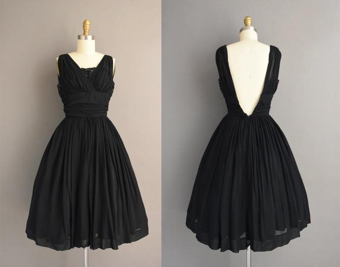 1950s vintage dress | Gorgeous Jet Black Super Low Back Full Skirt Cocktail Party Dress | XS | 50s dress by simplicityisbliss