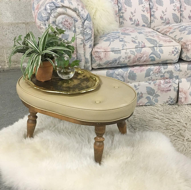 Vintage Ottoman Retro 1960s Oval Shaped + Tan Colored Vinyl Covered Ottoman Stool + Carved Brown Wood Legs + Mid Century Seating Home Decor by RetrospectVintage215