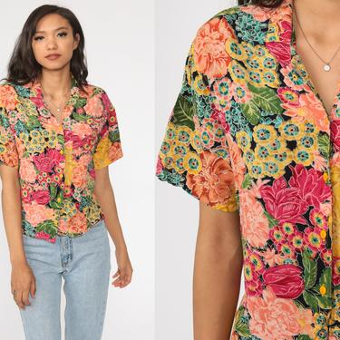 Rayon Floral Blouse 90s Button Up Shirt Short Sleeve Top Grunge Boho 80s Vintage Bohemian Small by ShopExile