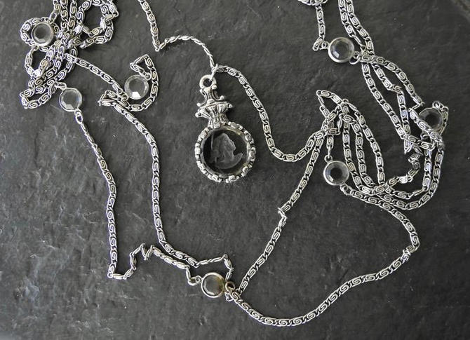 Goldette Grey Glass Intaglio Three Strand Bezel Set Crystal Necklace by LegendaryBeast