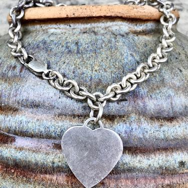 Vintage Sterling Heart Tag Charm Bracelet MO 925 Silver Estate Jewelry Love 1960s 1970s Retro Style by FlyTimesVintage