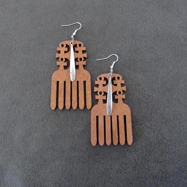 Afro comb earrings, hair pick earrings wooden earrings, Afrocentric earrings, African earrings, bold statement earrings, ankh brown silver by Afrocasian