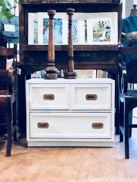 Campaign Dresser | Campaign Nightstand | Vintage Campaign Furniture | British Colonial | White Dresser | White Nightstand | End Table | MCM by PiccadillyPrairie